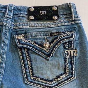 Miss Me Denim Bermuda Shorts Flap Pockets Bling 27